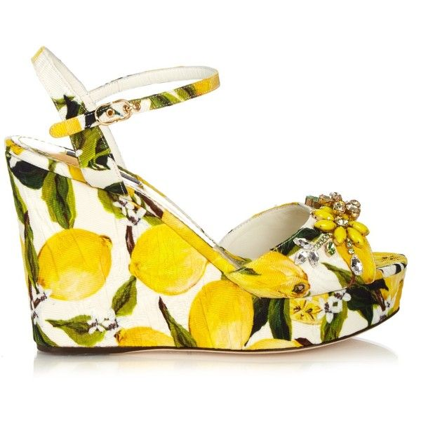 Dolce & Gabbana Lemon-print embellished wedge sandals (25 090 UAH) ❤ liked on Polyvore featuring shoes, sandals, floral print shoes, floral print sandals, floral wedge sandals, open toe wedge shoes and beaded sandals