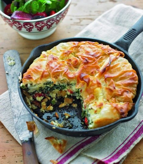 Feta, spinach and roasted red pepper filo tart, made in a cast iron skillet.