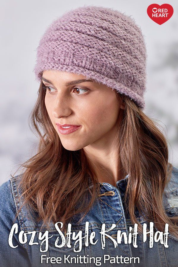 5a371242 Cozy Style Knit Hat free knit pattern in Hygge yarn. Keep warm and cozy on  your way to spend time with your friends! Hygge yarn knits up quickly and  is so ...