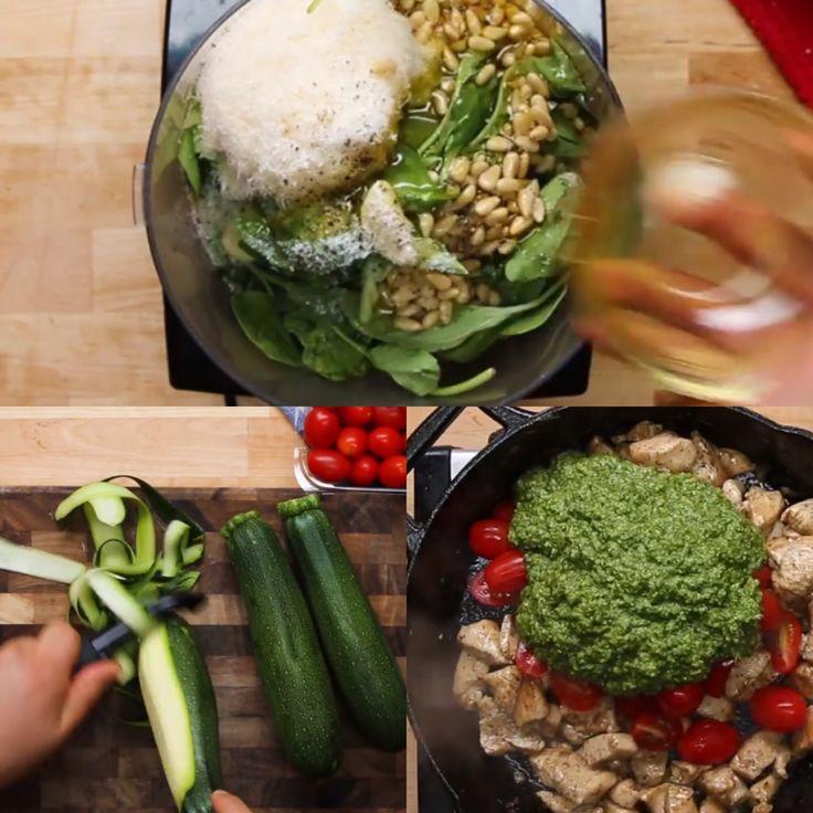 Kip pesto met repen courget en tomaatjes (spinazie/basilicum. Parmezaan. Pijnboompitten. 2knoflook. Citroen. Olijfolie. Peper) 3 courget. Wat tomaatjes en 2 kipfilet