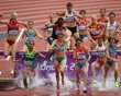 Clarisse Cruz of Portugal (C) competes in the Women's 3000m Steeplechase Round 1 Heats on Day 8 of the London 2012 Olympic Games at Olympic Stadium on August 4, 2012 in London, England. (Photo by Stre