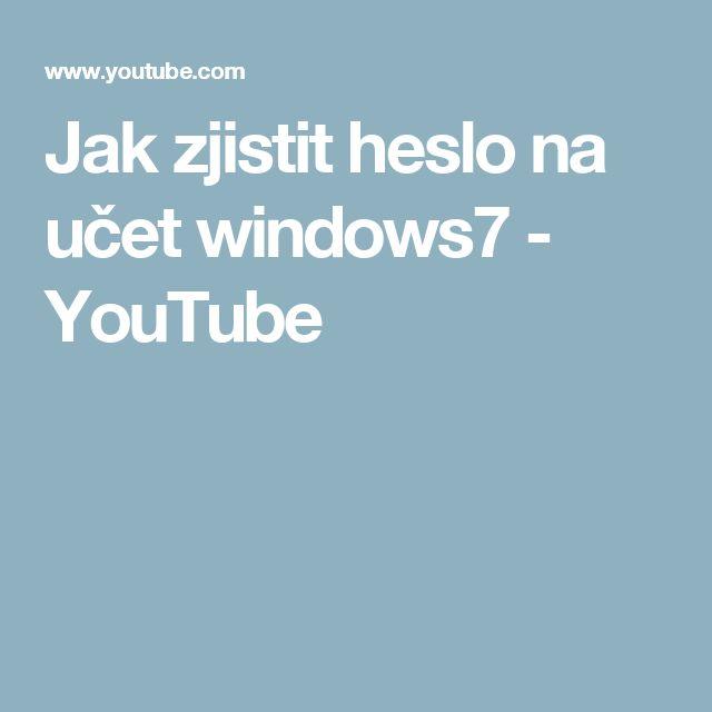Jak zjistit heslo na učet windows7 - YouTube