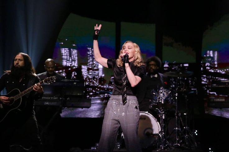 Madonna performs Borderline on The Tonight Show with Jimmy Fallon.