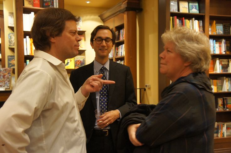 Author Stephen Henighan chats with LRC editor Bronwyn Drainie at the LLP vin d'honneur at Ben McNally Books in Toronto, October 28th, 2013.