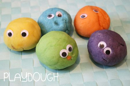 Homemade - No Cook -  Non Toxic Playdough Recipe   (Goggly eyes optional)   http://achildsworld.co.uk/2015/04/playdough-recipe/