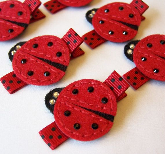 Ladybug Felt Hair Clip - An adorable red and black and sparkly lady bug clippie - Cute every day clip - Birthday party favor. $3.50, via Etsy.