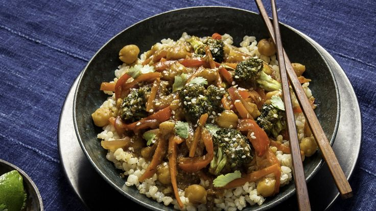 The vegan chef Jenné Claiborne grew up in suburban Atlanta, where she developed a love for the teriyaki chicken stir-fry at Panda Express After she became vegan, she recreated the flavors of her teen-age craving, using dates and soy sauce to produce the flavor of teriyaki sauce If you don't have chickpeas on hand to add heft to the vegetables, replace them with tempeh, tofu, edamame, jackfruit or mushrooms