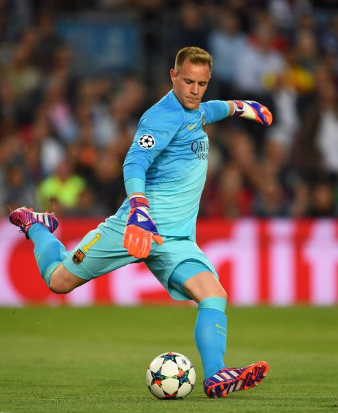 Marc-Andre ter Stegen of Barcelona takes a goal kick during the UEFA Champions League Semi Final, first leg match between FC Barcelona and FC Bayern München at Camp Nou on May 6, 2015 in Barcelona, Catalonia.