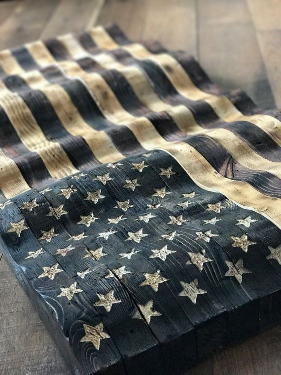 Wavy Handcrafted American Flag   Distressed and stained with love   https://www.etsy.com/shop/OneNationCreations?ref=l2-shopheader-name