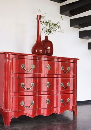 YOU can never go wrong with RED, especially RED ENAMEL WITH LAQUER sprayed over it or clean polyurethane.  Dishfunctional Designs: Upcycled Dressers: Painted, Wallpapered, & Decoupaged