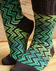 """This is a one circular needle, cuff down pattern, originally designed for Felici self-striping yarn as an alternative to """"plain"""" stripes."""