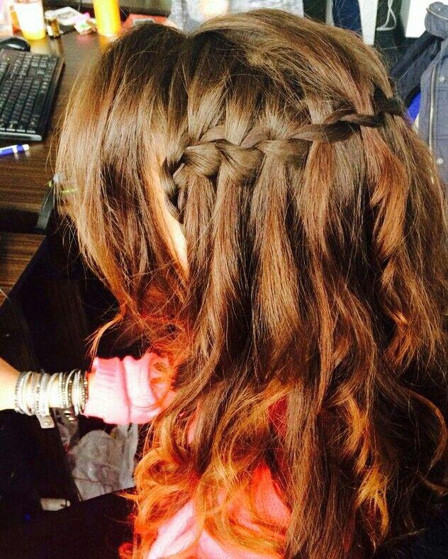 Waterfall braid on curly hair
