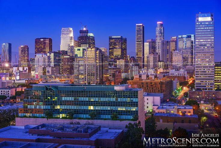 Magic Hour View of Downtown Los Angeles 2015 Wilshire Grand Tower skeleton