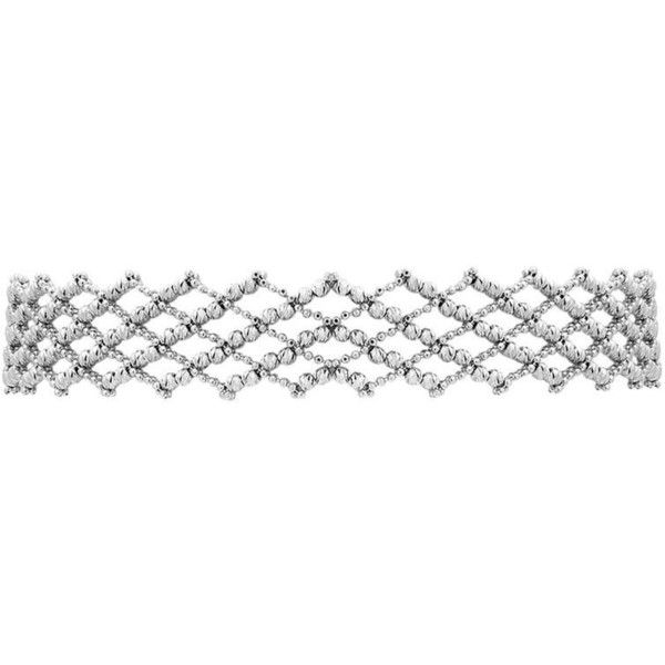 Preowned 14 Karat White Gold Beaded Italian Made Choker Necklace With... ($3,200) ❤ liked on Polyvore featuring jewelry, necklaces, choker necklaces, white, white gold bead necklace, adjustable necklace, beaded choker, choker necklace and lock necklace