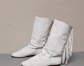 MOCCASIN white leather 80s FRINGE ankle boots...had these and felt especially cool if I wore them with my matching white fringe leather jacket! LOL
