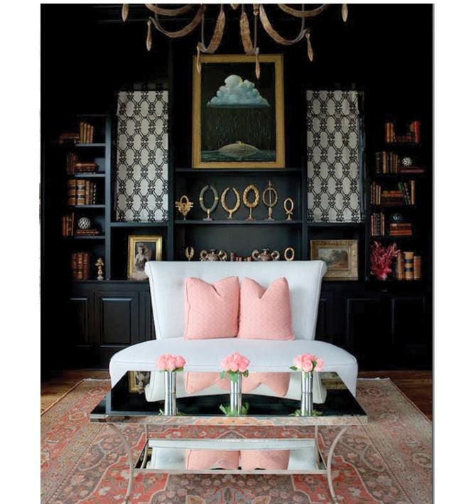Beutiful.: Decor, Interior, Idea, Living Rooms, Color, Livingroom, Pink, Black Wall, Design
