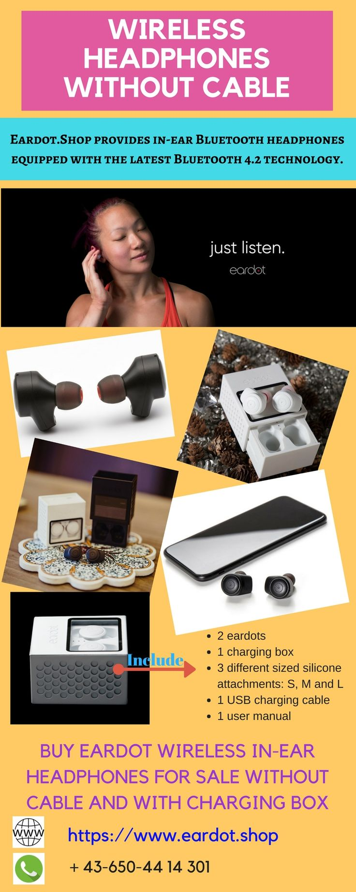 Buy best selling wireless in-ear Bluetooth headphones online without cable available in market only on https://www.eardot.shop/. Equipped with latest Bluetooth 4.2 Technology and unique design we provide in-ear headphones with excellent connectivity. #WirelessHeadphonesWithoutCable
