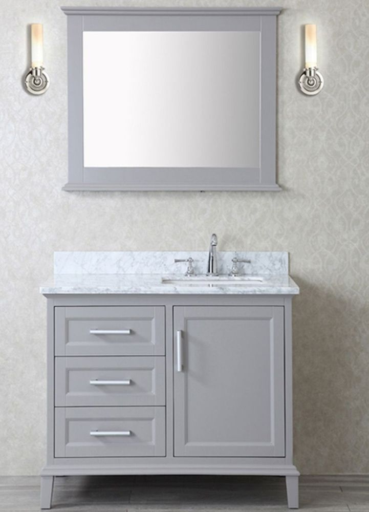 ace 42 inch single taupe grey bathroom vanity set with mirror