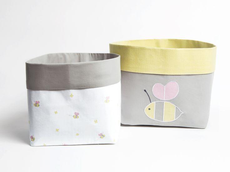 Buzzing Bee - Fabric Storage Baskets, Nursery Stoarge Baskets, Storage Baskets, Canvas Storage Baskets, Baby Baskets, Nursery Baskets