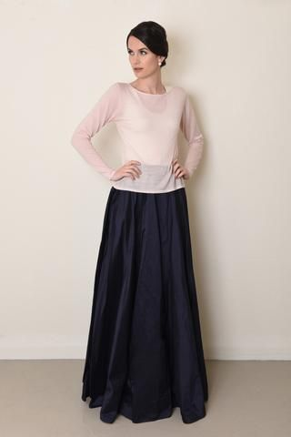Cashmere Knit in Blush with a long floor sweeping skirt. Fashion inspo