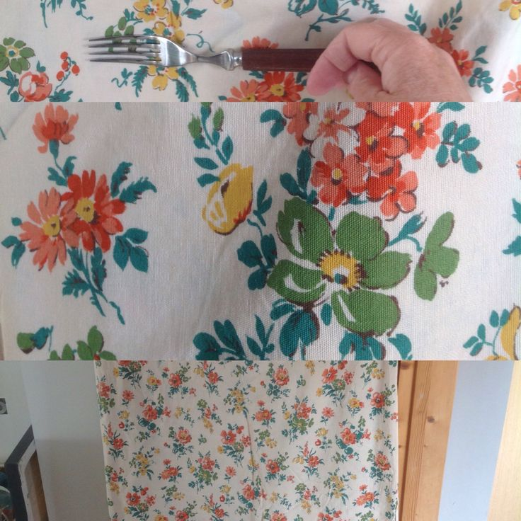 Vintage 40s floral cotton fabric 7 metres flowers orange peacock blue green yellow curtains cushions retro vintage home cream background by ReworkedHomewares on Etsy