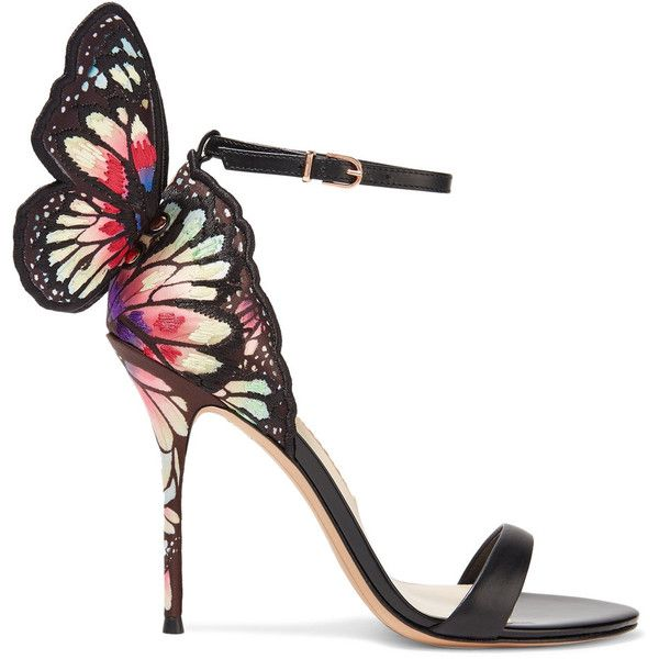 Sophia Webster Chiara embroidered satin and leather sandals ($795) ❤ liked on Polyvore featuring shoes, sandals, black, thin strap sandals, ankle strap stilettos, strappy leather sandals, black sandals and black high heel sandals