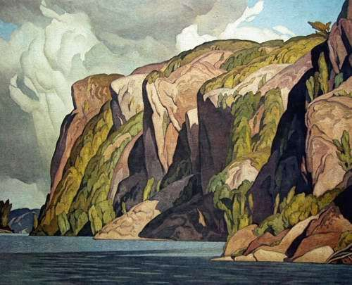 "Painting of costal cliffs with clouds. Water and mountains. blue, green, landscape. AJ Casson ""Bon Echo"""