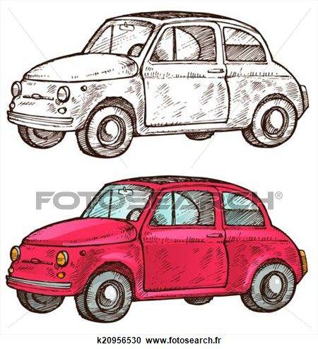 vieux, italien, voiture Voir Clipart Grand Format