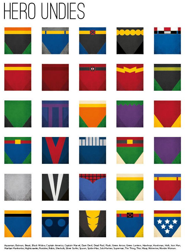 Superhero Underwear, Minimalist Art Prints Featuring the Stylized Underwear of Comic Book Heroes and Villains