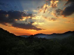 Amazing sunset view from Moonshine Cabin.  Bryson City Cabin Rentals - Bryson city, NC.