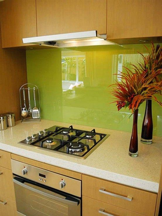 Chartreuse Backsplash. #kitchen #kitchenbacksplash