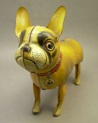 Vintage B s Tin Litho French Bull Terrier Bulldog Toy Made in Germany US Zone