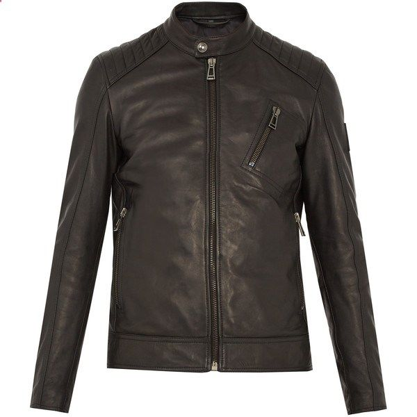 Belstaff V Racer leather jacket (2.885 BRL) ❤ liked on Polyvore featuring mens fashion, mens clothing, mens outerwear, mens jackets, black, mens stand collar jacket, mens motorcycle jacket, mens waxed jacket, mens water resistant jacket and mens leather jackets