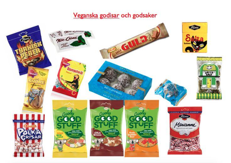 Godis (med namn och bilder) vegetarian vegetariskt vegan candy tuck sweetie sweety