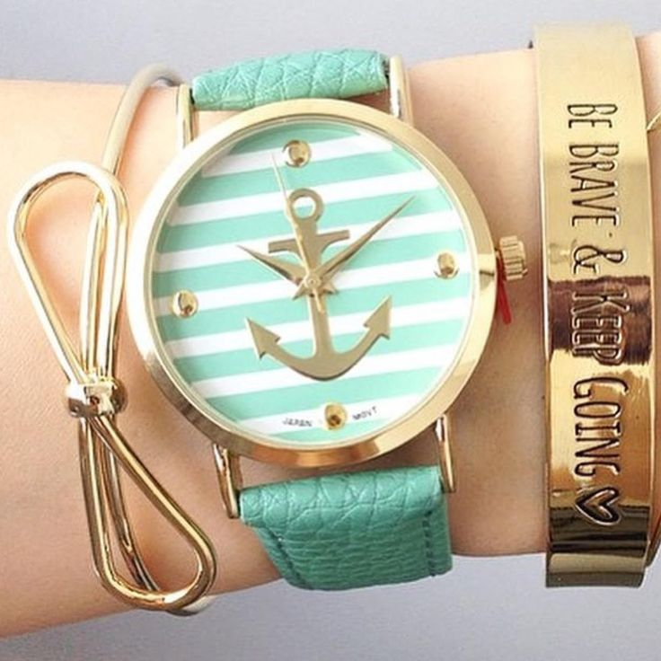 Get the look with our Mint Stripes Anchor Watch!