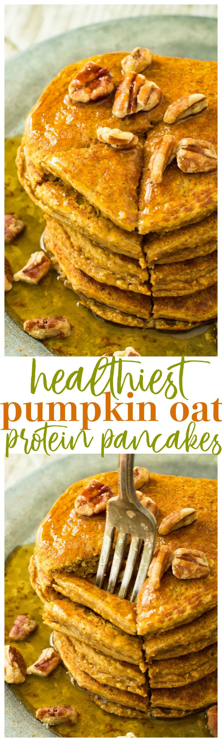 Healthiest Pumpkin Oat Protein Pancakes - tender, fluffy pancakes that can be whipped up in the blender. Healthy, simple and perfect for chilly fall mornings!