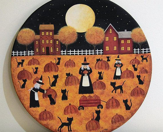 Halloween Decoration Folk Art Painting Primitive Plate Three