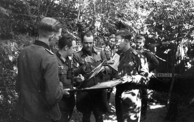1944, France, Des officiers allemands consultent des cartes, en plein air, sous des arbres