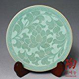 Celadon verde esmalte de la flor de loto Diseño Porcelana Cerámica Cerámica Pastel dulce para servir comida Plate