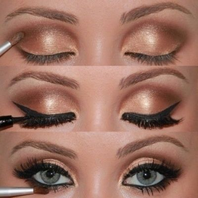 Golden Eye Makeup with Thick Winged Liquid liner...who could go wrong with this gorg evening look! Tip: Using a q-tip with Make Up Remover to make shadows more pronounced by making a clean line - brightens up the eyes!