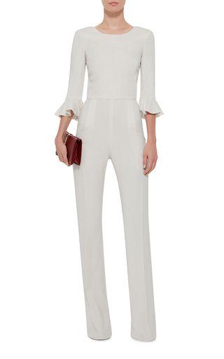 Mara Ruffle Sleeved Jumpsuit by SALONI for Preorder on Moda Operandi | Elegant Chic White Jumpsuit
