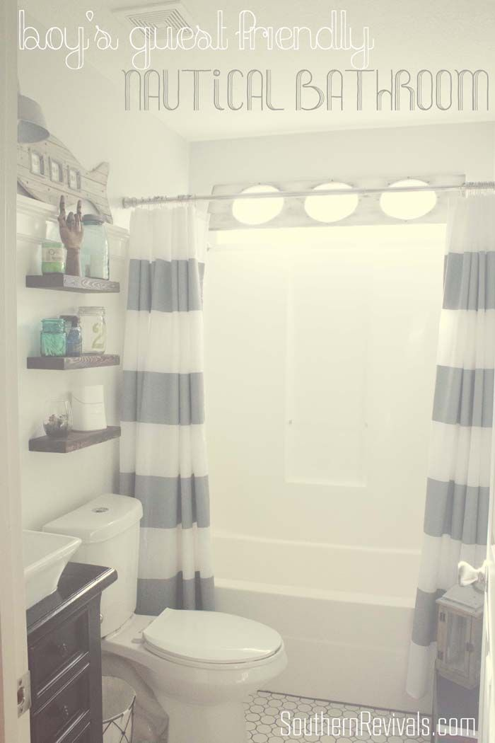 Nautical Guest Friendly Boys Bathroom Makeover Reveal - Southern Revivals