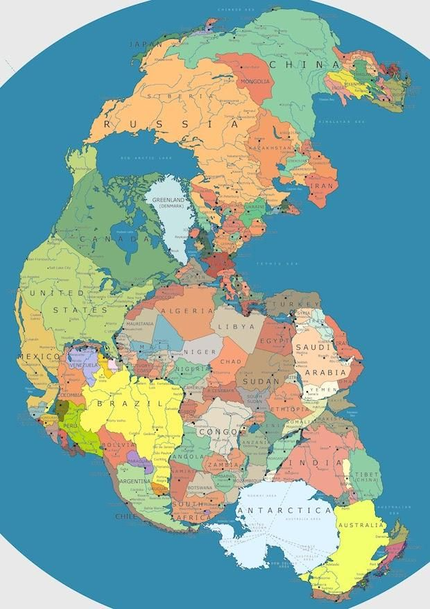 Map of Pangea With Current International Borders | Mental Floss