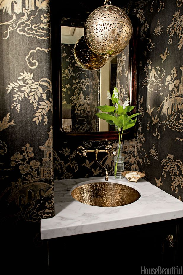 Contemporary Art Websites Powder Rooms That Pack A Punch Gold WallpaperWallpaper Powder RoomsSmall Bathroom