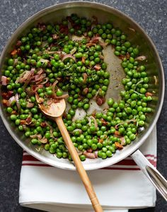 Ina Garten's Peas and Pancetta. A sweet and salty make-ahead side dish for the holidays.