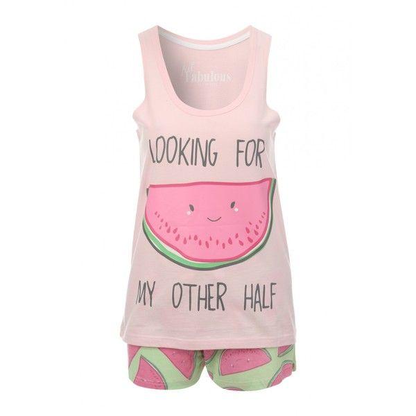 Women's Novelty Top and Shorts Pyjamas ($6.37) ❤ liked on Polyvore featuring intimates, sleepwear, pajamas, summer pjs, pink sleepwear, pink pjs, summer sleepwear and summer pajamas