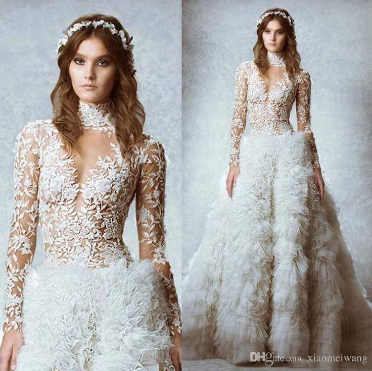 Белый Свадебные Платья Бальные Высокая Воротом Длинные Рукава Кружева См Посредством Гибкого Перо