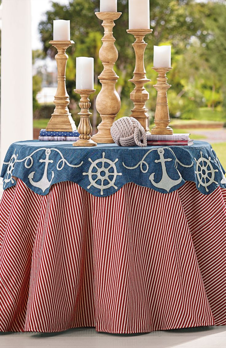 Anchor your red, white, and blue décor with our festive Nautical Table Topper.