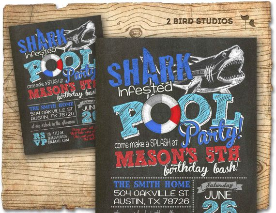 Pool party invitation  Shark invitation for pool by 2birdstudios, $20.00