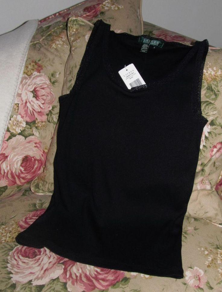 LAUREN RALPH LAUREN Black Cotton w/ Black Lace Trim Ribbed Cami  Tank Top M  NWT #LaurenRalphLauren #TankCami #Versatile